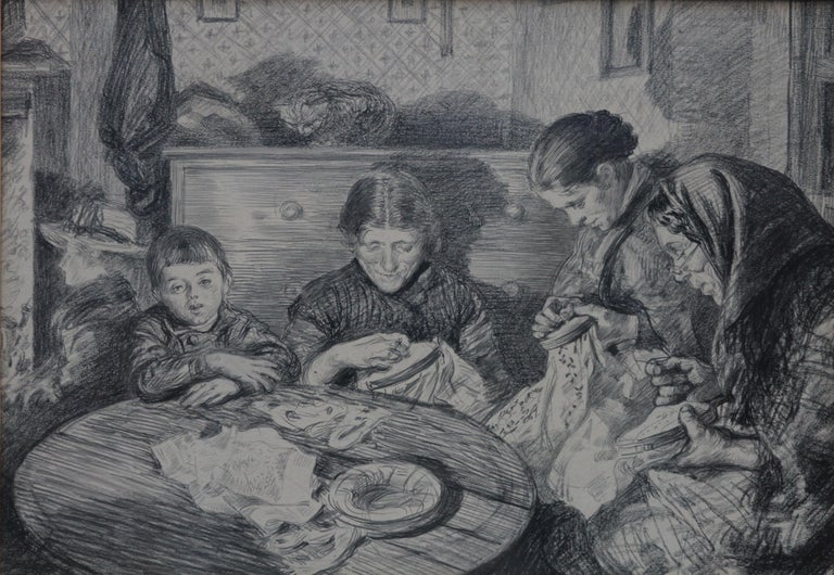The Sewing Circle - French 1900 art interior portrait drawing women sewing - Art by Charles Paul Renouard