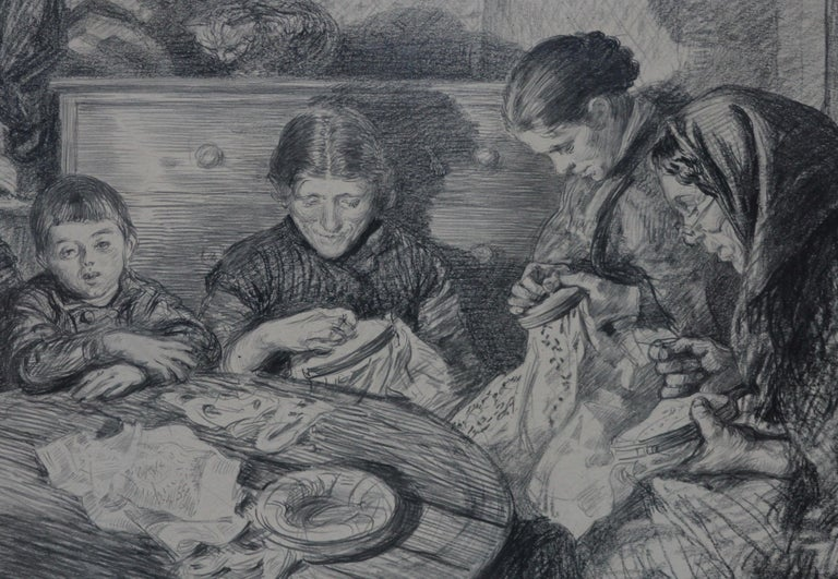 The Sewing Circle - French 1900 art interior portrait drawing women sewing - Realist Art by Charles Paul Renouard