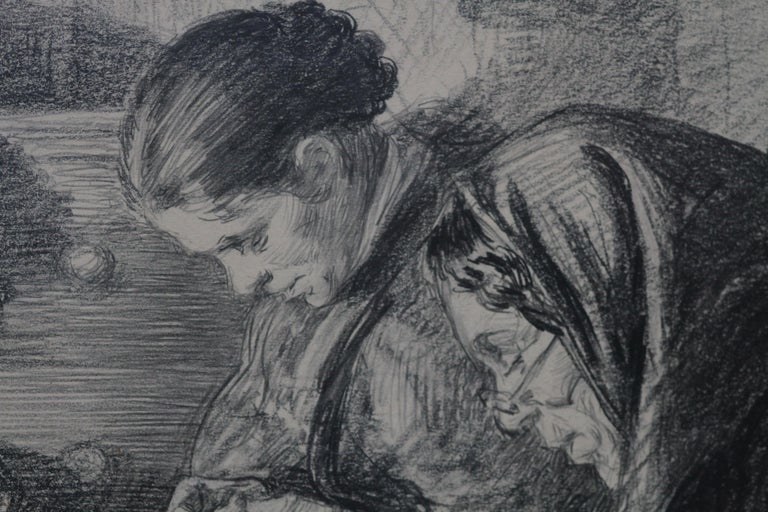 The Sewing Circle - French 1900 art interior portrait drawing women sewing - Gray Interior Art by Charles Paul Renouard
