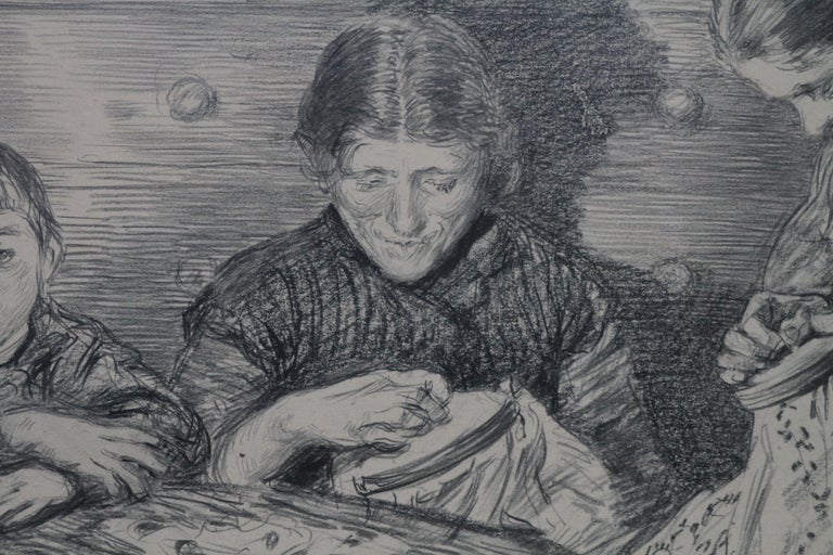 The Sewing Circle - French 1900 art interior portrait drawing women sewing For Sale 2