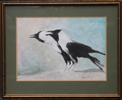 House Crows 1976 - Expressionist animal art watercolour bird painting