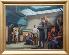 Portrait of Cabinet Makers - British 40's art Industrial interior oil painting