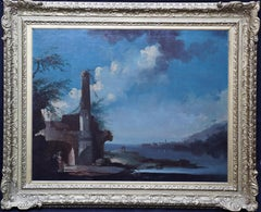 Capriccio View of Estuary - French 18thC Old Master art landscape oil painting