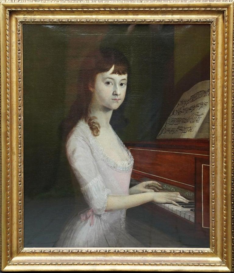 Alexander Nasmyth (att) Interior Painting - Portrait of Sarah Wagstaff Playing Piano - Scottish 18th century oil painting