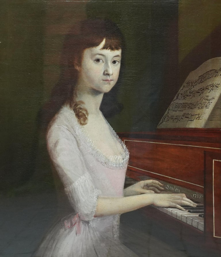 Portrait of Sarah Wagstaff Playing Piano - Scottish 18th century oil painting - Painting by Alexander Nasmyth (att)