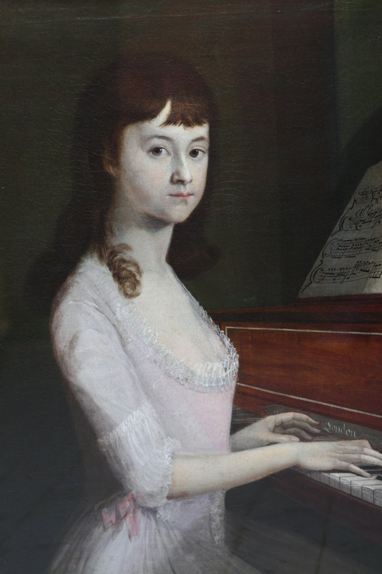 Portrait of Sarah Wagstaff Playing Piano - Scottish 18th century oil painting - Old Masters Painting by Alexander Nasmyth (att)