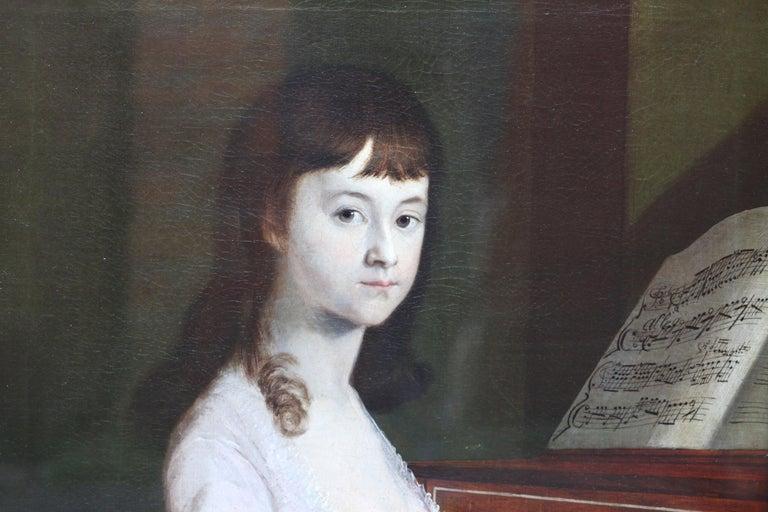 Portrait of Sarah Wagstaff Playing Piano - Scottish 18th century oil painting - Black Interior Painting by Alexander Nasmyth (att)