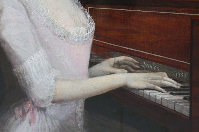Portrait of Sarah Wagstaff Playing Piano - Scottish 18th century oil painting For Sale 2