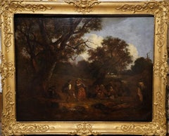 Dancers in a Landscape - British 19thC art figurative landscape oil painting