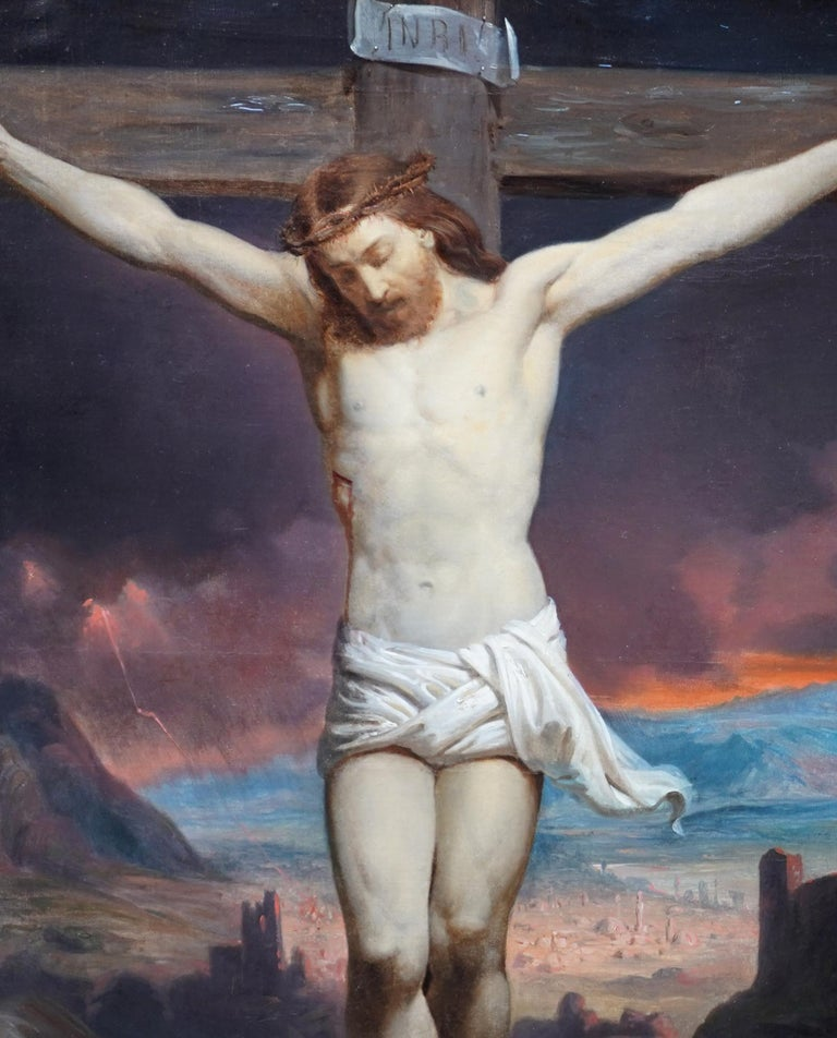 The Crucifixion - Belgian 19thC Victorian religious art portrait oil painting - Realist Painting by Charles Soubre