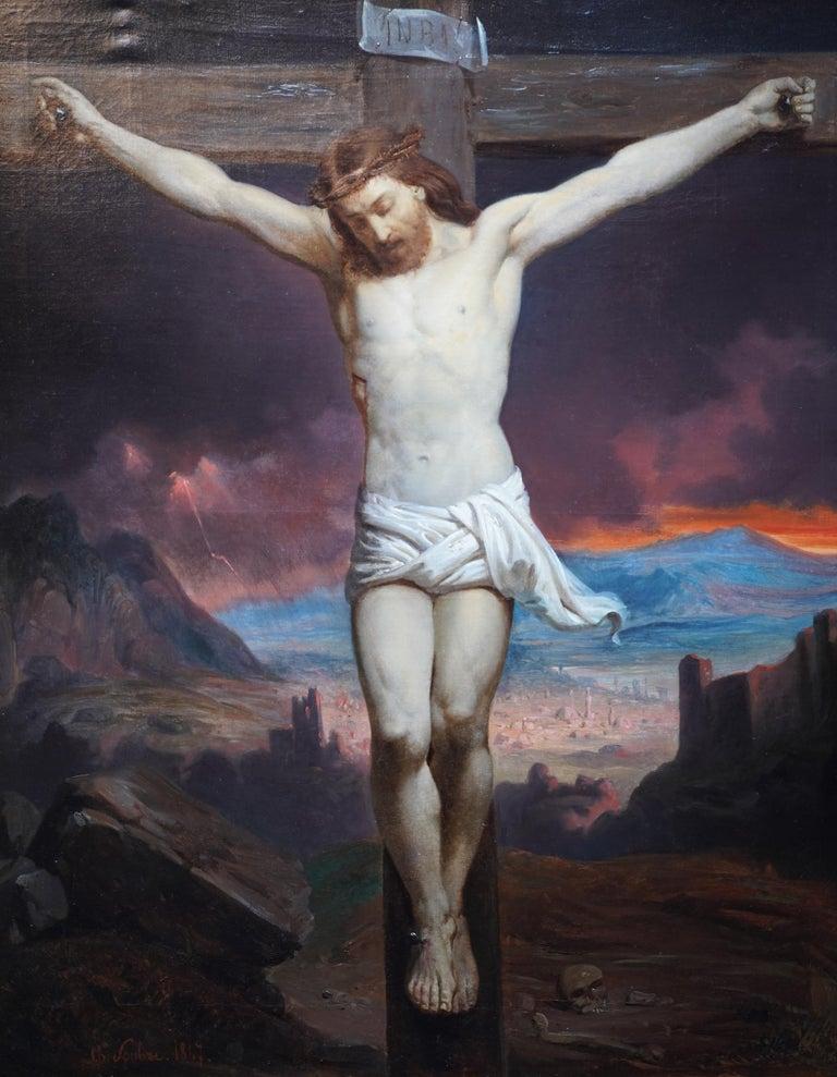 The Crucifixion - Belgian 19thC Victorian religious art portrait oil painting - Black Portrait Painting by Charles Soubre
