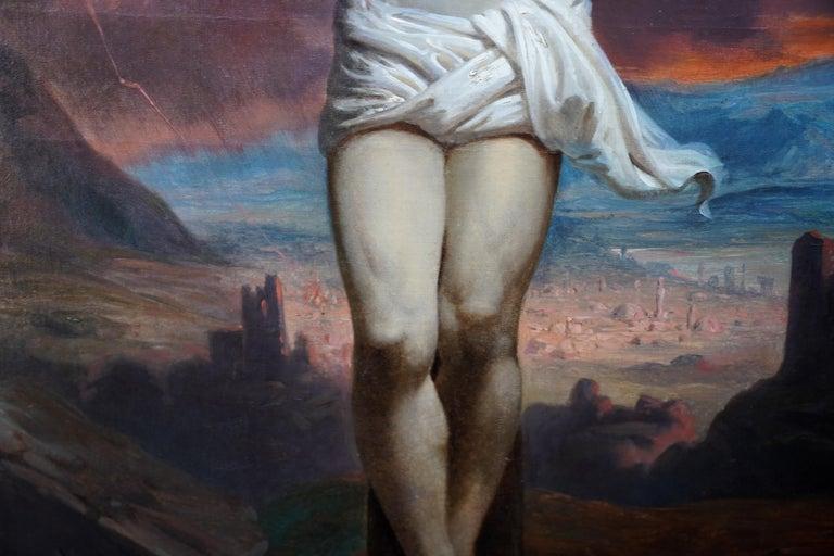 The Crucifixion - Belgian 19thC Victorian religious art portrait oil painting For Sale 1