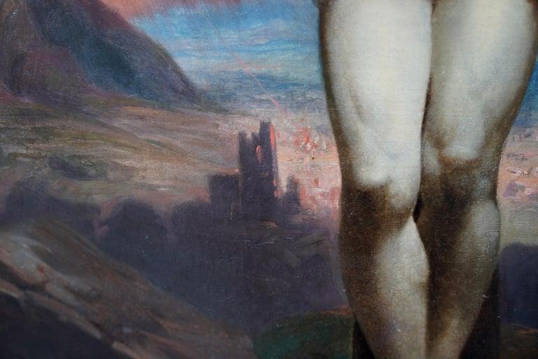 The Crucifixion - Belgian 19thC Victorian religious art portrait oil painting For Sale 3