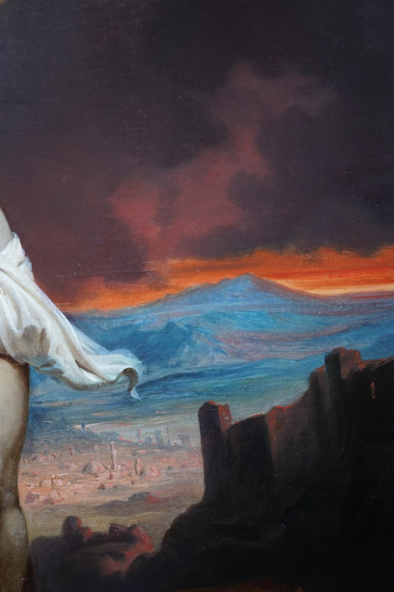 The Crucifixion - Belgian 19thC Victorian religious art portrait oil painting For Sale 4