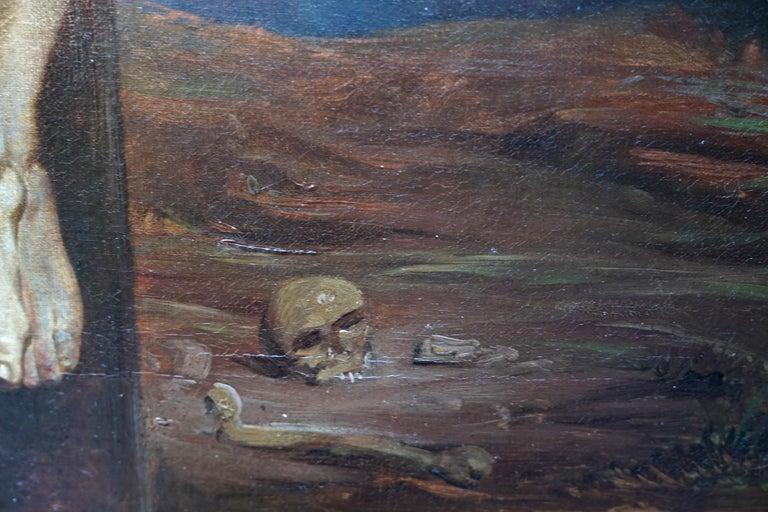 The Crucifixion - Belgian 19thC Victorian religious art portrait oil painting For Sale 5