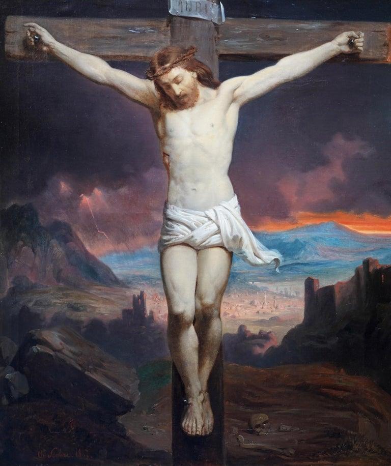 The Crucifixion - Belgian 19thC Victorian religious art portrait oil painting For Sale 8