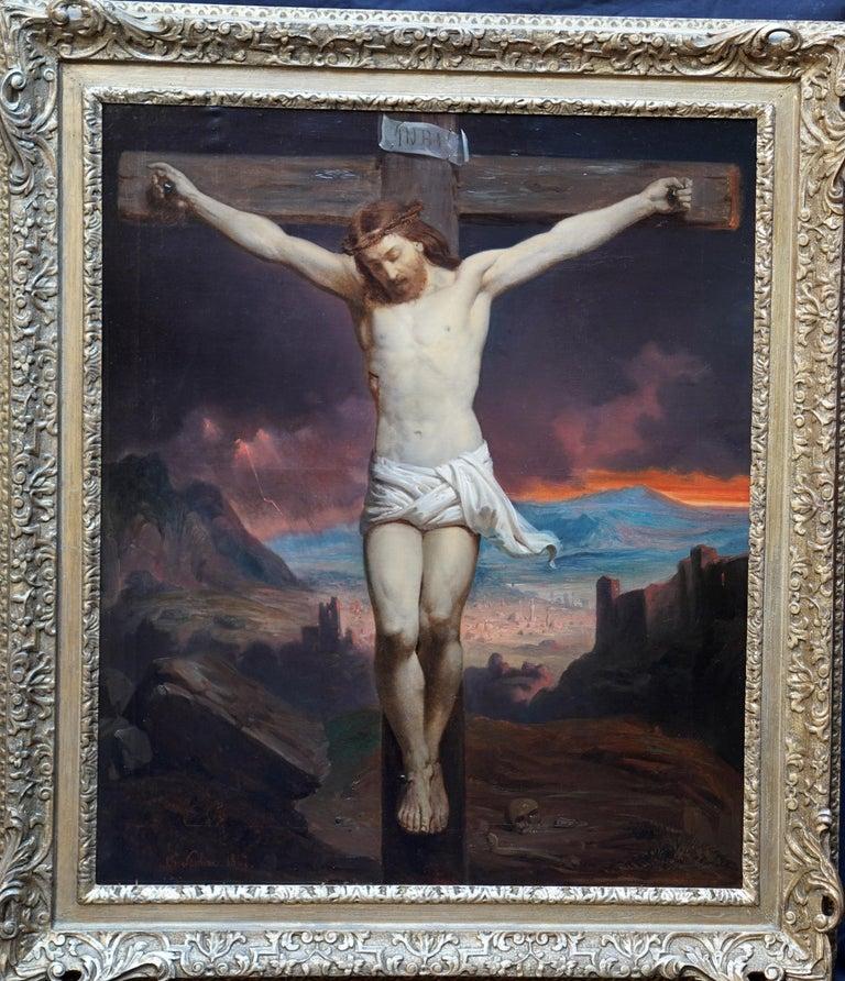 The Crucifixion - Belgian 19thC Victorian religious art portrait oil painting For Sale 9