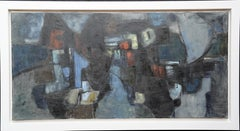 Lock by Night - British Abstract Expressionist 1960s art exhibited oil painting