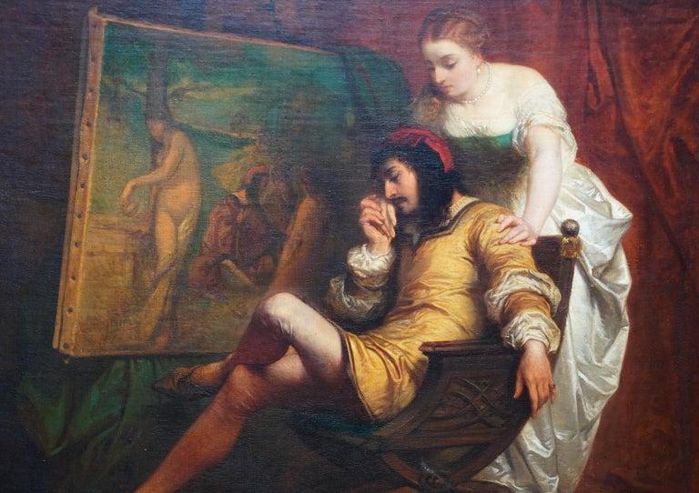 The Art Lover - Belgian 19th century art interior portrait oil painting  - Realist Painting by Edouard Jean Conrad Hamman