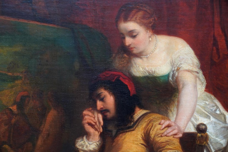 This superb Belgian 19th century portrait oil painting is by noted portrait artist Edouard Jean Conrad Hamman. Painted circa 1860 whilst in Paris, the painting is of an Art Lover and wife seated in front of his latest addition to his collection. The