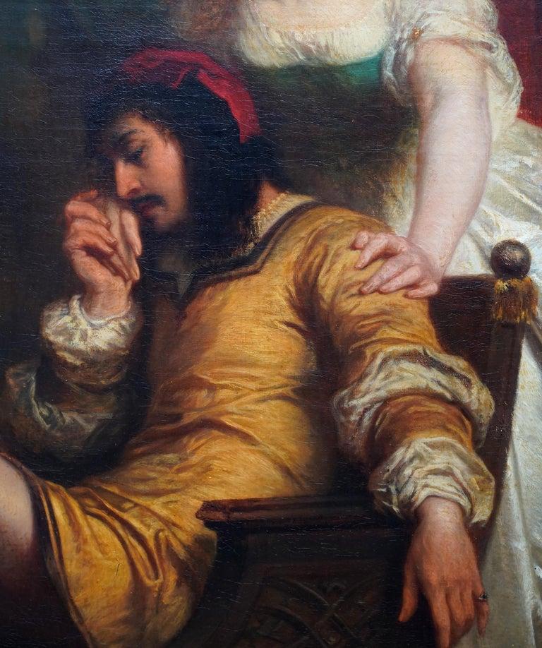 The Art Lover - Belgian 19th century art interior portrait oil painting  For Sale 1