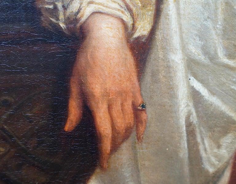 The Art Lover - Belgian 19th century art interior portrait oil painting  For Sale 2
