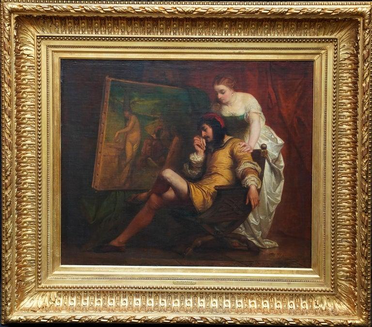 The Art Lover - Belgian 19th century art interior portrait oil painting  For Sale 7