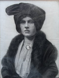 Portrait of a Lady -  Scottish art early 20thC drawing society woman hat cameo