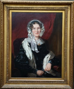 Portrait of Lady in Ermine Stole - British 19th century art female oil painting