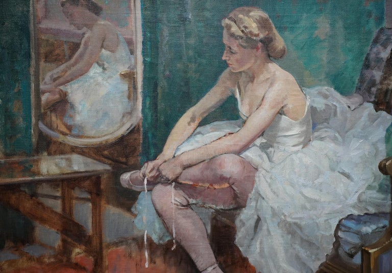 A Corner of the Dressing Room - British 40's exhib ballet portrait oil painting - Realist Painting by Francis Edwin Hodge