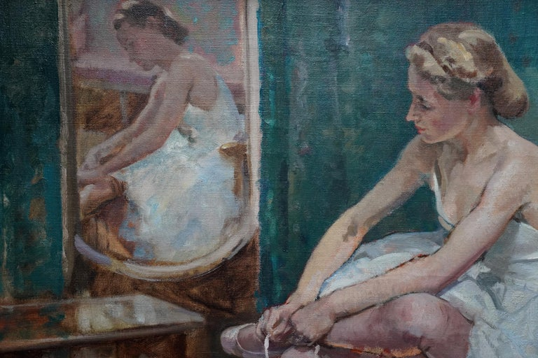A Corner of the Dressing Room - British 40's exhib ballet portrait oil painting - Gray Portrait Painting by Francis Edwin Hodge
