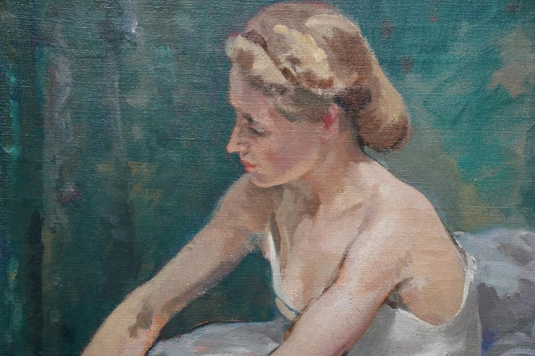 This beautiful exhibited British 1940's interior portrait oil painting is by noted artist Francis Edwin Hodge. Painted in 1941 it was first exhibited at the Royal Academy that year entitled 'A corner of the dressing room' and again at Southport
