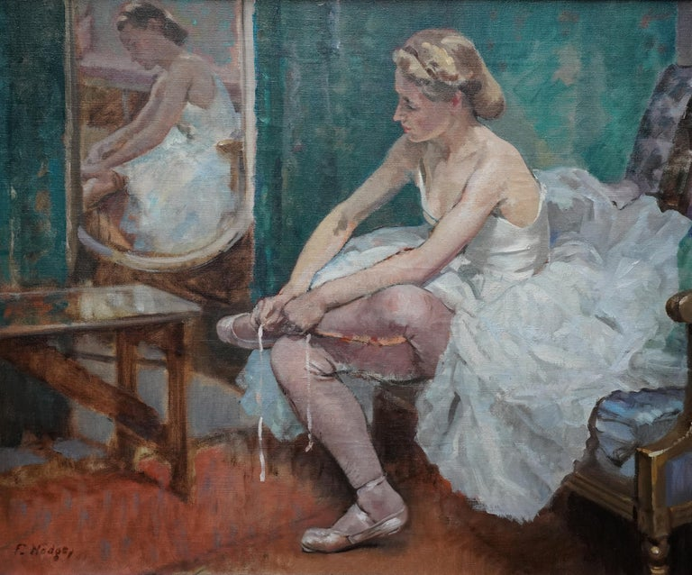 A Corner of the Dressing Room - British 40's exhib ballet portrait oil painting For Sale 5