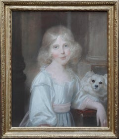 Portrait of Girl with White Dog - British Old Master Regency art oil pastel