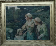 The Village Maids - British Victorian art exhibited RA 1880 watercolour painting