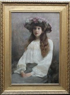 Portrait of a Woman in Floral Hat - British Edwardian art portrait oil painting