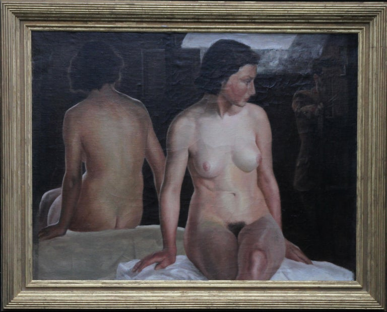 Stanley Spencer (circle) Nude Painting - Reflected Female Nude with Artist - British Slade Sch 30's portrait oil painting