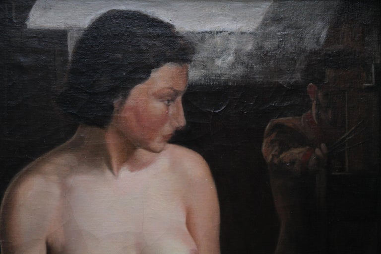 This stunning British Slade School nude portrait oil painting is attributed to the circle of Stanley Spencer. The painting was painted in the 1930's in a realistic palette and shows incredible artistry catching the luminosity of the sitter's skin.
