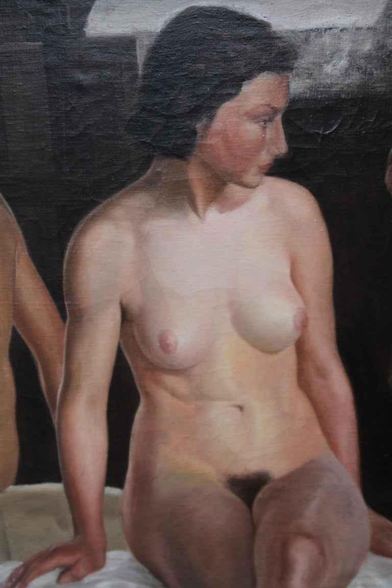 Reflected Female Nude with Artist - British Slade Sch 30's portrait oil painting For Sale 1