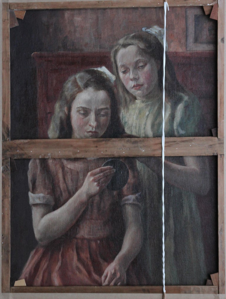 Reflected Female Nude with Artist - British Slade Sch 30's portrait oil painting For Sale 4