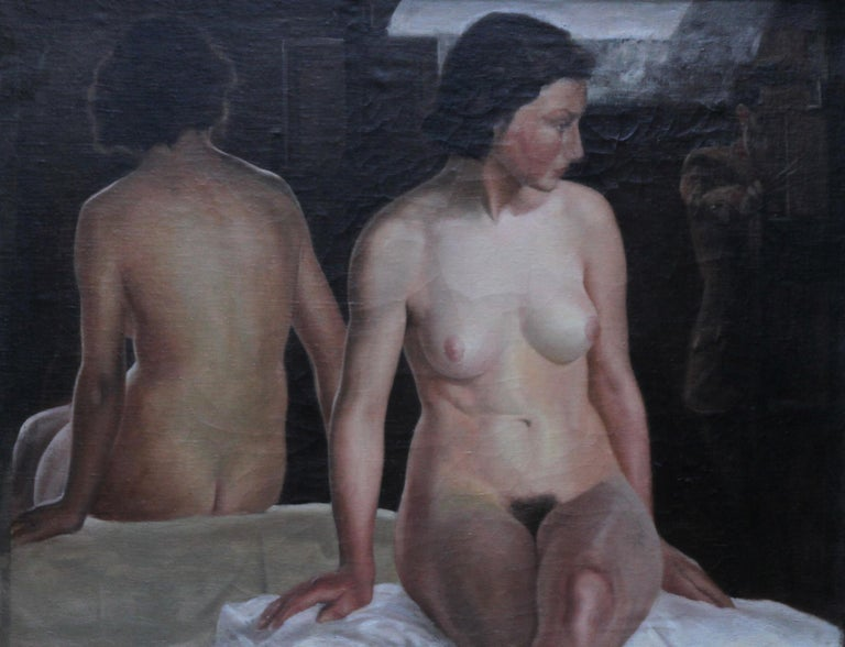Reflected Female Nude with Artist - British Slade Sch 30's portrait oil painting For Sale 5
