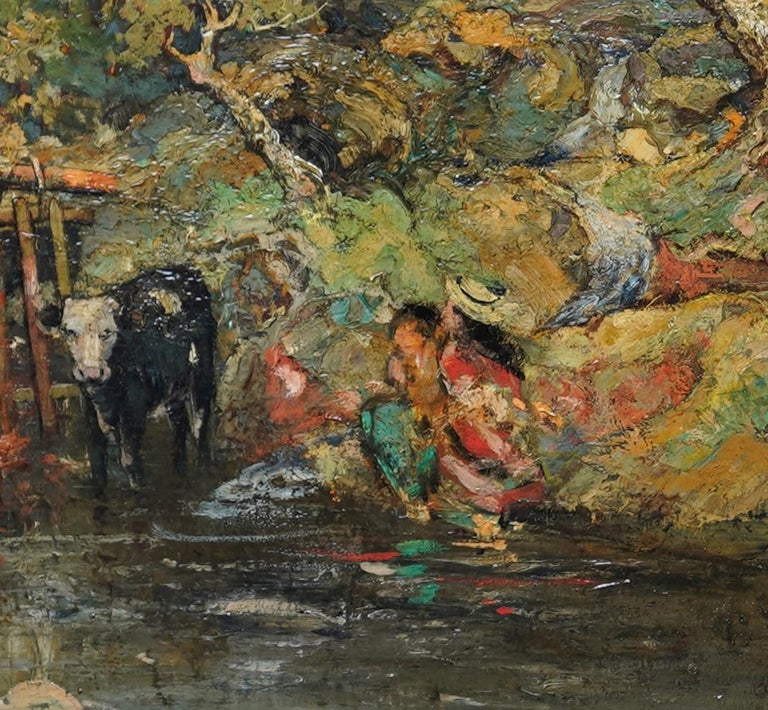 This stunning exhibited Impressionist Scottish Victorian pastoral oil painting is by noted Scottish Kirkcudbright artist William Mouncey. Painted in 1889 it has the wonderful bold brushwork, impasto and colouring of Scottish art, showing the