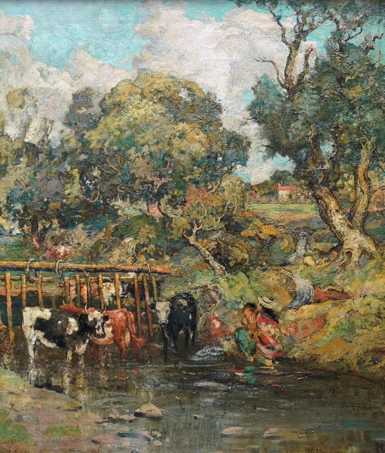 Galloway Pastoral - Scottish Victorian Impressionist art oil painting Exh 1889 For Sale 7