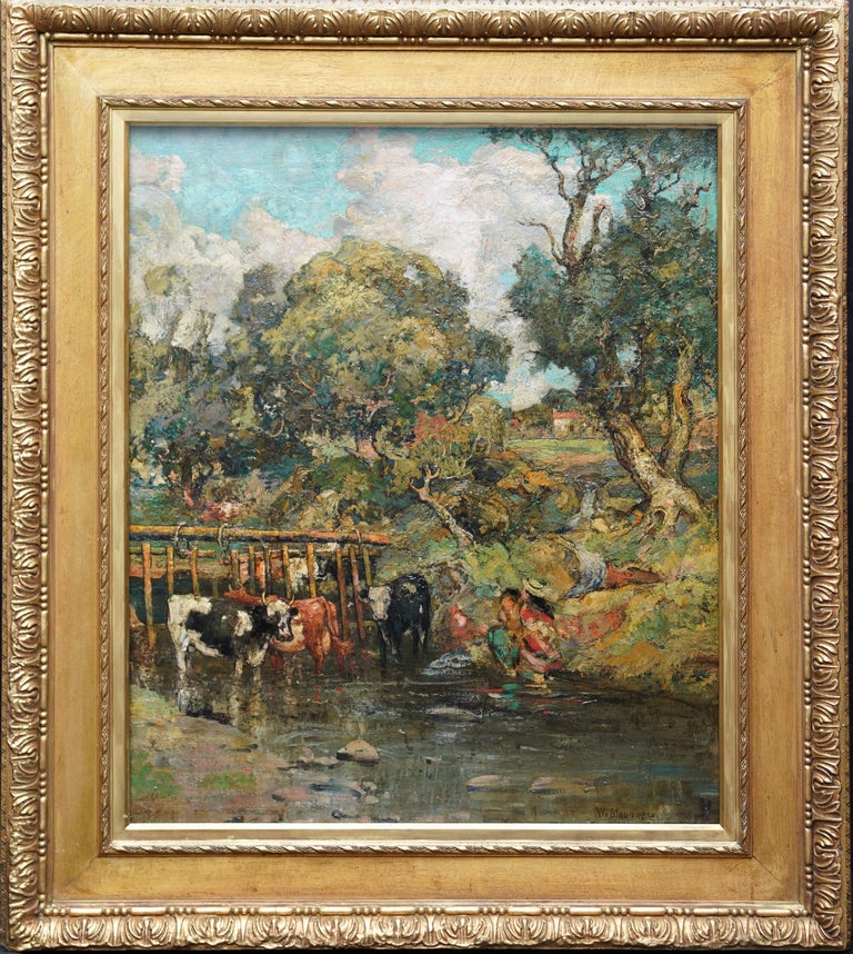 Galloway Pastoral - Scottish Victorian Impressionist art oil painting Exh 1889 For Sale 8