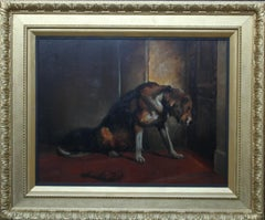 Dog Waiting Patiently  - British Edwardian art loyal dog portrait oil painting