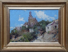 Hillside Village - Scottish 1920's art  Impressionist landscape oil painting