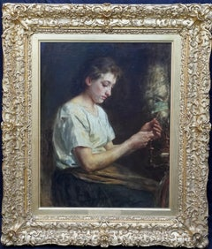 The Flax Spinner - Belgian Victorian art female portrait oil painting craftwork