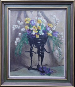Art Deco Spring Flowers - British 1930's art floral still life oil painting