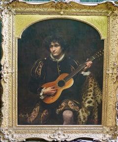 Portrait of a Victorian Rock Star - British 19thC Pre-Raphaelite oil painting