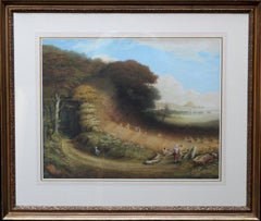 St. Michael's Mount - British 19th century art landscape oil painting Cornwall